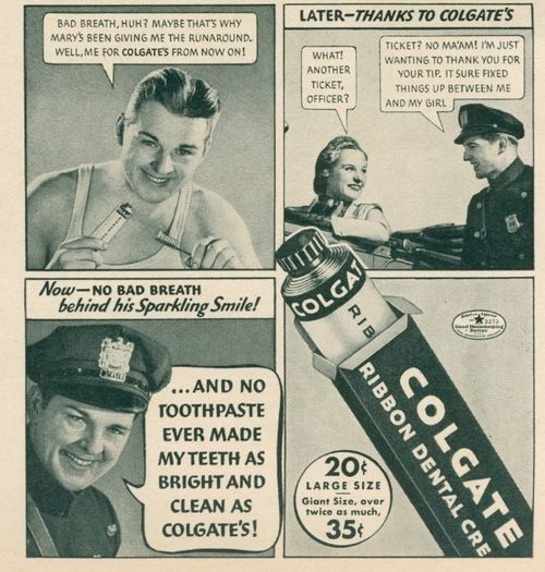 Vintage Colgate ad helping in the ways of love.
