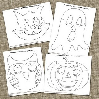"""printable halloween masks - kids can color them, then wear them while playing freeze dance to """"Monster Mash,"""" """"Thriller,"""" etc!"""
