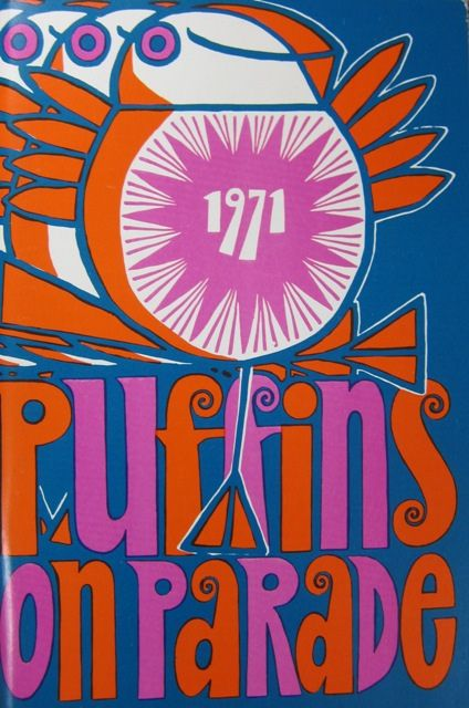 Puffins on Parade (1971), from A Penguin a Day (Flickr). A psychedelic, tripped-out cover, via Maraid.