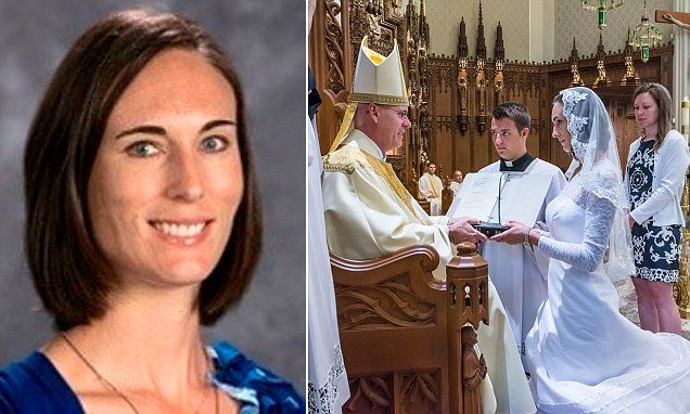 'I am married to Jesus': Consecrated virgin, 38, marries God in wedding ceremony that attracts hundreds. High school teacher Jessica Hayes, 38, held her unusual wedding at Cathedral of the Immaculate Conception in Fort Wayne, Indiana. The bride said she changed her mind about her bridal dress many times. 'I really wanted to make sure that I was well-covered in a way that still shows the beauty of a bride,' she explained