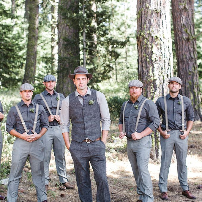 Brides.com: . These guys know how to rock fifty shades of grey and newsboy caps in monochromatic vintage ensembles.