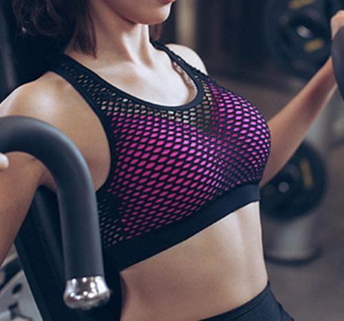 Mermaid Curve Women Sports Bra Breathable Mesh Padded Gym Shakeproof Underwear Push Up Bra Multi Color Seamless Fitness Top Bras