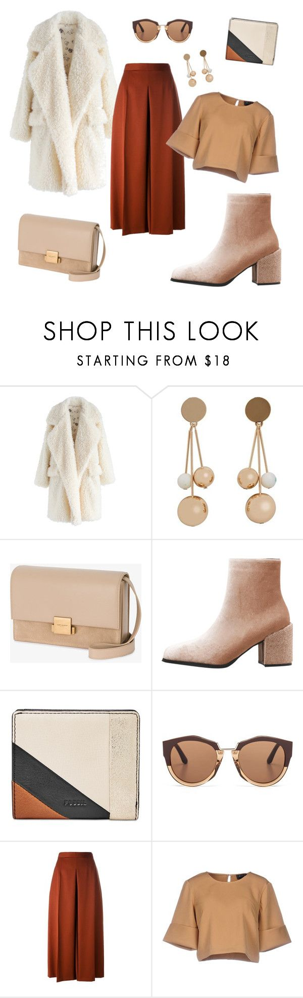 """Untitled #345"" by inesgenebra on Polyvore featuring beauty, Chicwish, MANGO, Yves Saint Laurent, FOSSIL, Marni, Alexander McQueen and The Fifth Label"