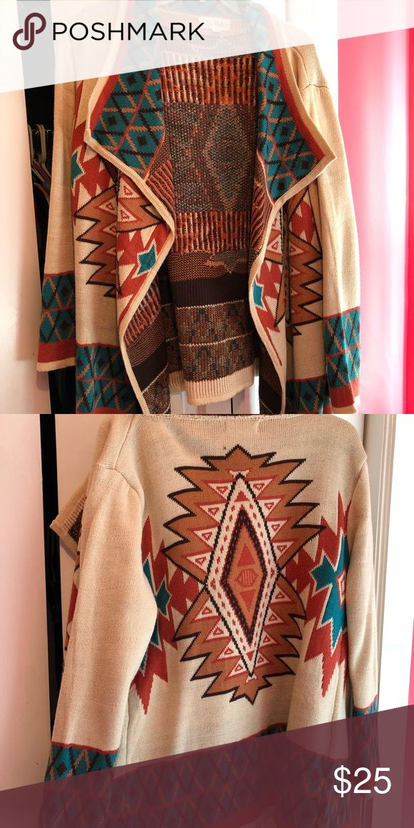 Tribal print cardigan sweater Large tribal print sweater cardigan. Worn once. Bought from a nice boutique. Sweaters Cardigans