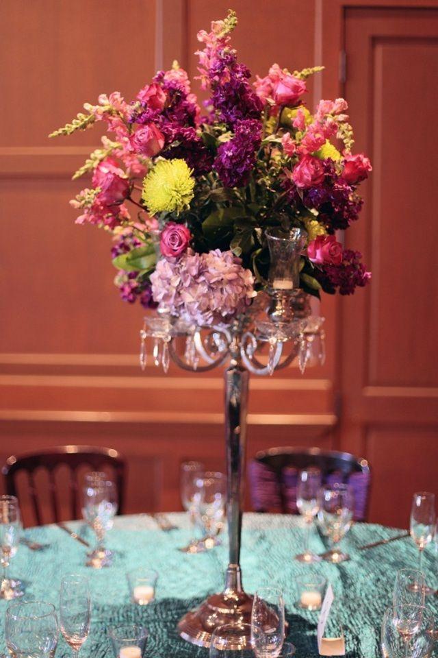 Silver candelabra centerpiece with lavender hydrangea