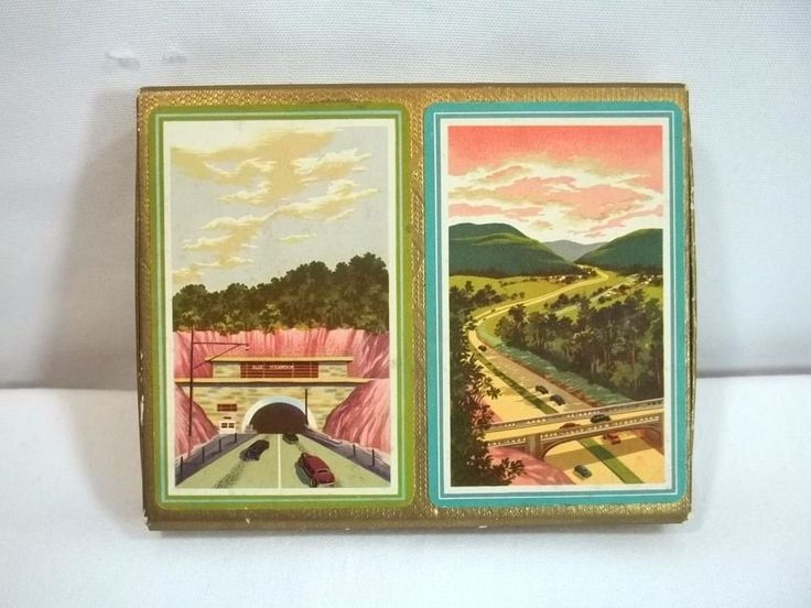 Pennsylvania Turnpike Playing Cards Vintage Souvenir 2 Decks In Box