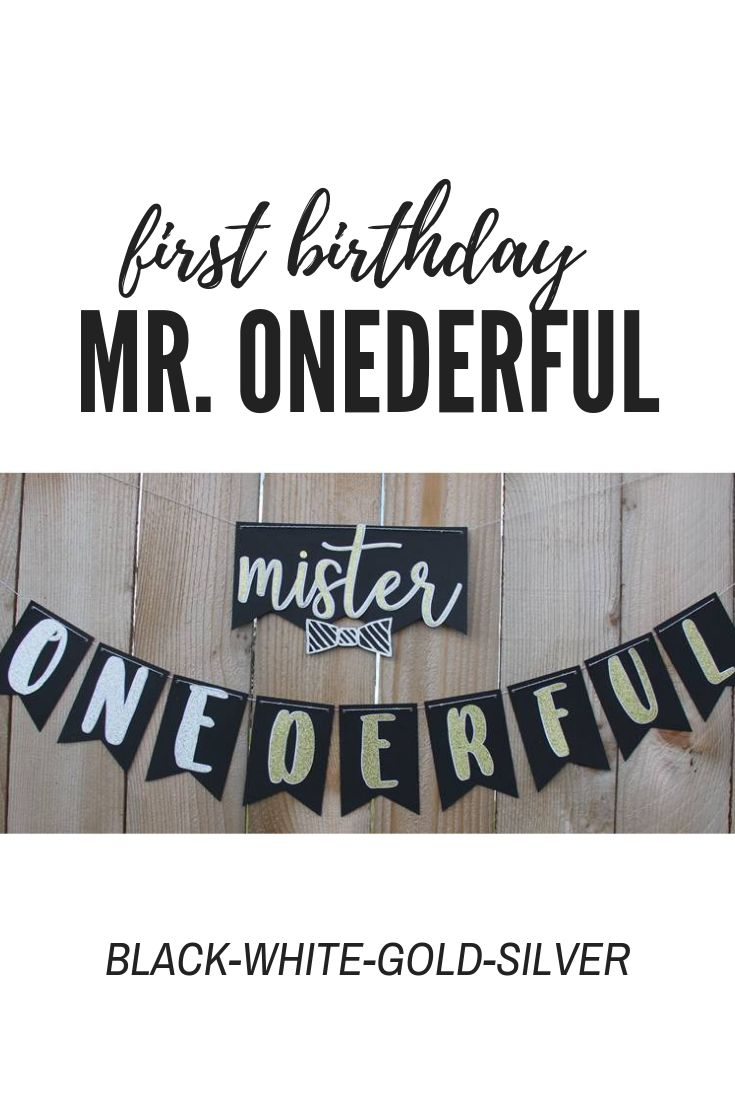 Mister or mr onederful banner for first boy birthday in