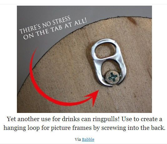 DIY picture hanger: A pull tab from a soda can.