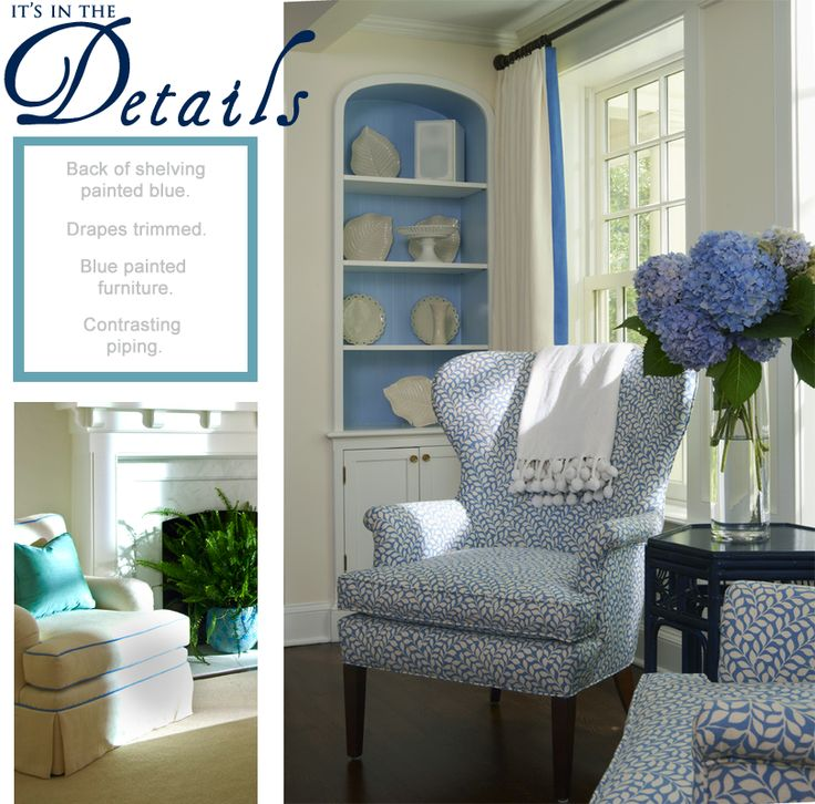 Blue And Beige Living Room: Detail Of Classic Living Room In Tones Of Beige, Blue, And