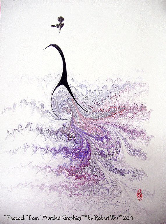 Purple Peacock, Original Fine Hand Marbled Graphics™ by Robert Wu, Toronto, Canada.    The sheet measures 18 x 24. Fits in standard frame size.