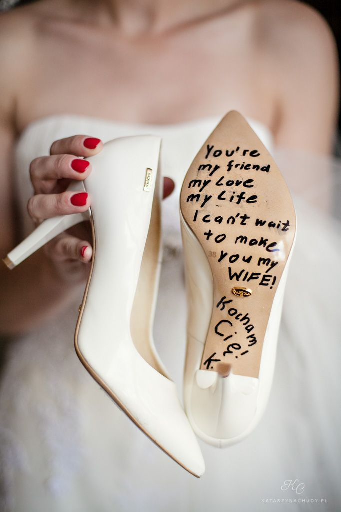 Wedding shoes. Great idea for Groom surprise!