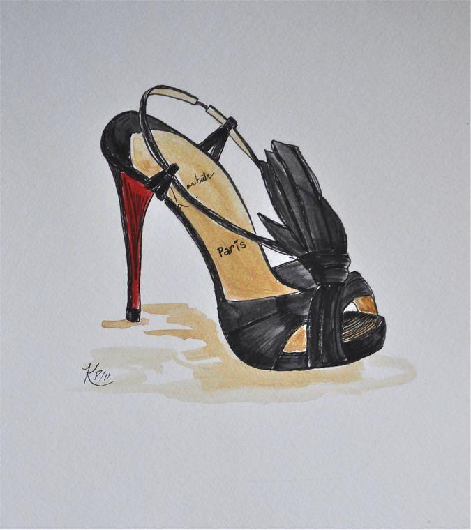 Original illustration:   Louboutin heel fashion sketch. $24.00, via Etsy.