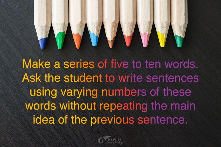 Challenging Verbal Tasks (4 of 5): WRITING SENTENCES ...