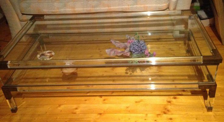 Glas/Acrylglas Couch Tisch 130 x 79 x 40 cm obere Ebene ausfahrbar TOP!