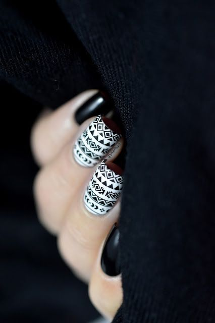Black & white aztec nails - water decals