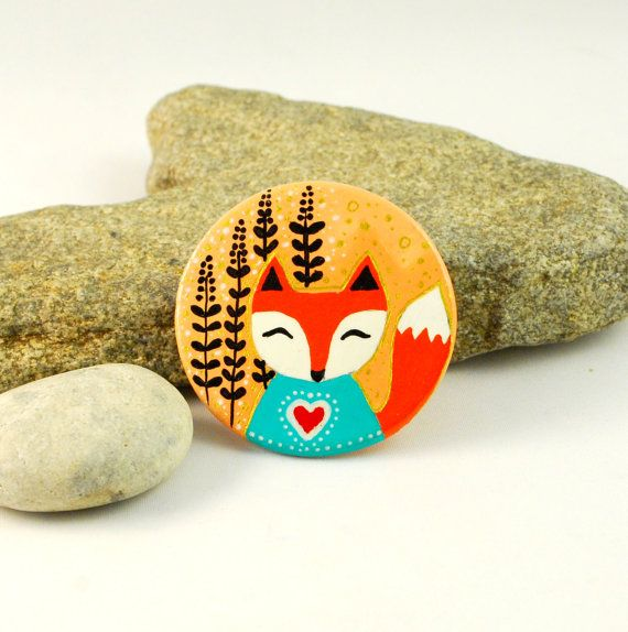Cute Fox Handpainted Ceramic Brooch  woodland by PumpkinDesign, $19.00