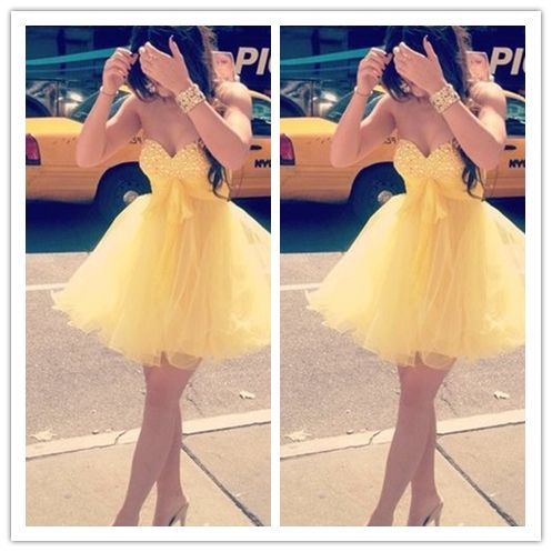 Yelllow Homecoming Dress/Yelllow Short Country Homecoming Gowns #H067