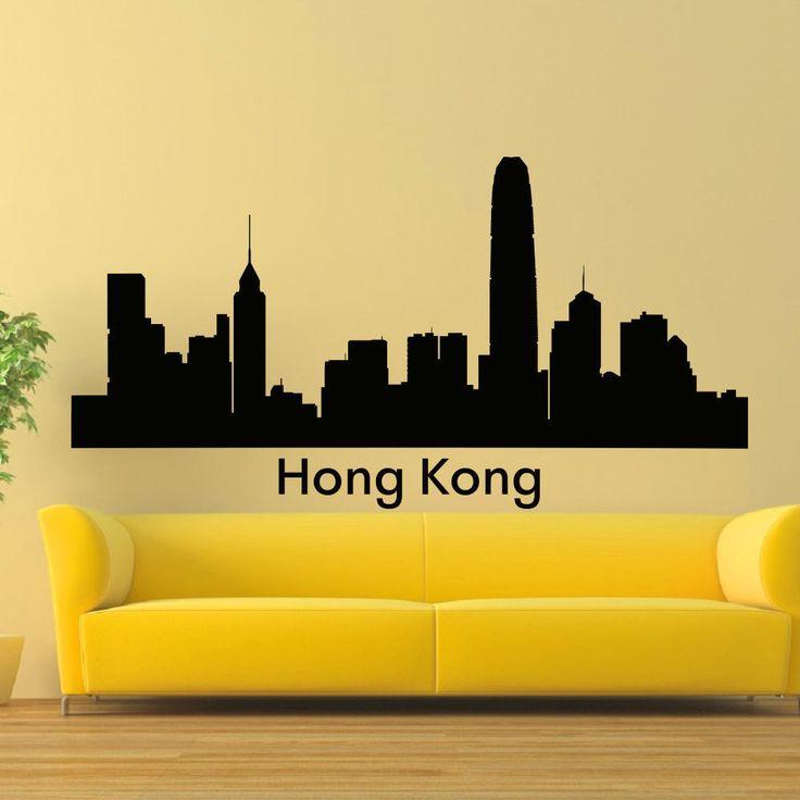 Hong Kong Skyline City Silhouette Vinyl Wall Art Decal Sticker