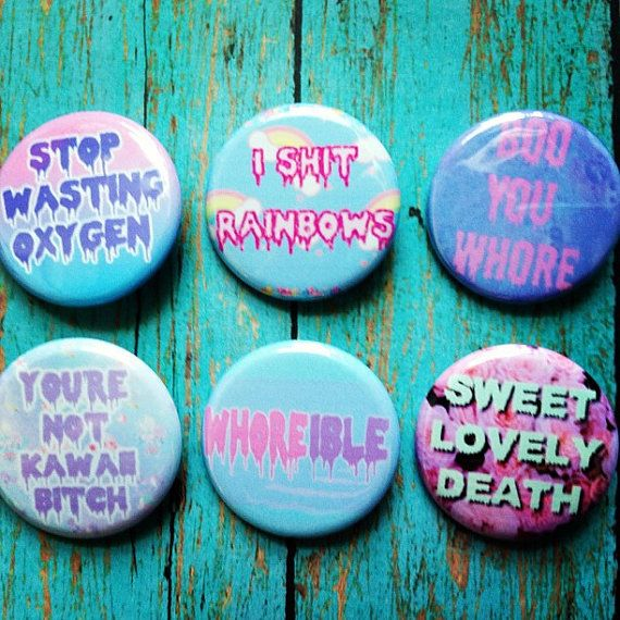 Pastel Goth Soft Grunge Kawaii Set Of 6 Buttons Plus 1 Free Button Gift With Purchase