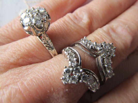 Danusharose 2 Part Vintage Ring Set Matching 14K White Gold Diamond Cluster Wedding Guard