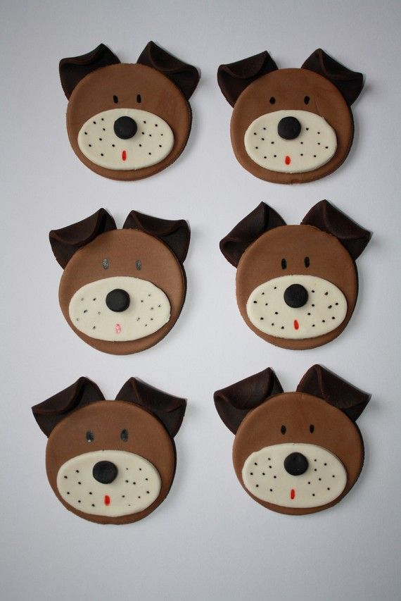 Edible Dog Cake Images : Dog Cupcake Toppers Edible Fondant by Clementinescupcakes ...