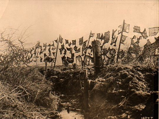 Photo: artists as wartime Magi/camouflage/barbed wire, 1918.