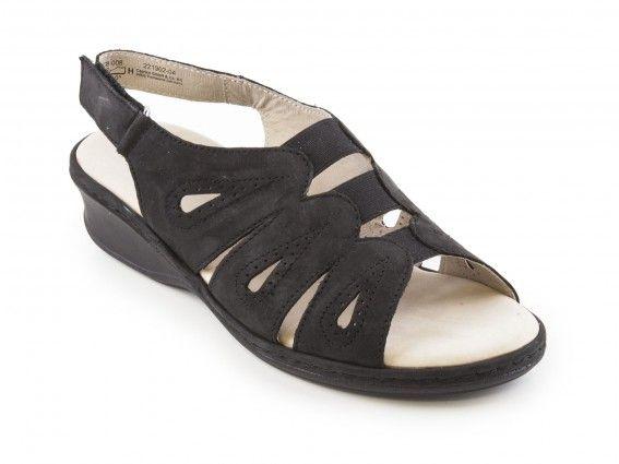 Caprice - Dámské letní nazouváky/sandály na klínku šíře H 9-28250-28 / černá - Pohled z boku