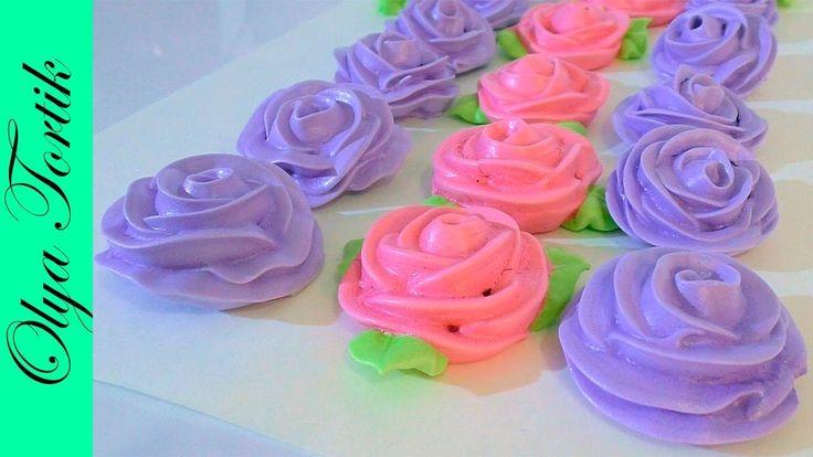 РОЗЫ из безе мастер класс  Как сделать розу БЕЗЕ МК /// Olya Tortik Дома...