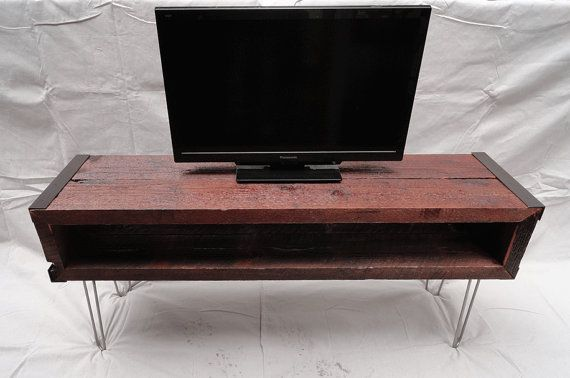 5 ft Industrial media console tv stand from old barnwood with hairpin legs// this is awesome.