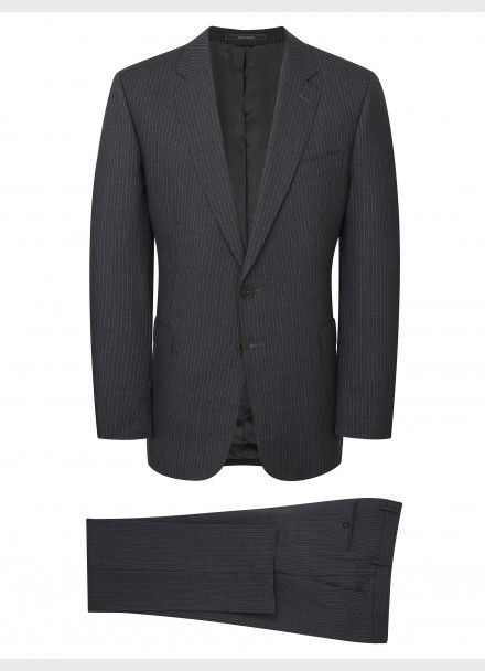 Pure Wool Full Canvas Grey Pinstripe Suit