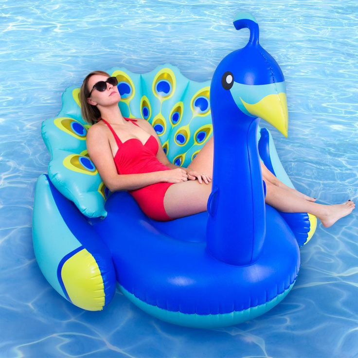 Lounger Swimming Pool Inflatable Animal Ride On Float Giant Peacock