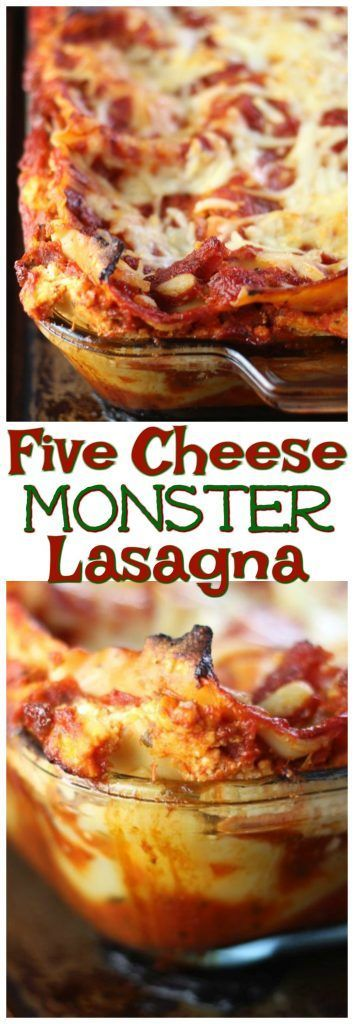 A monster of a dish! A meaty Five Cheese Lasagna recipe with goat cheese, mozzarella, parmesan, cottage cheese, and ricotta cheeses!
