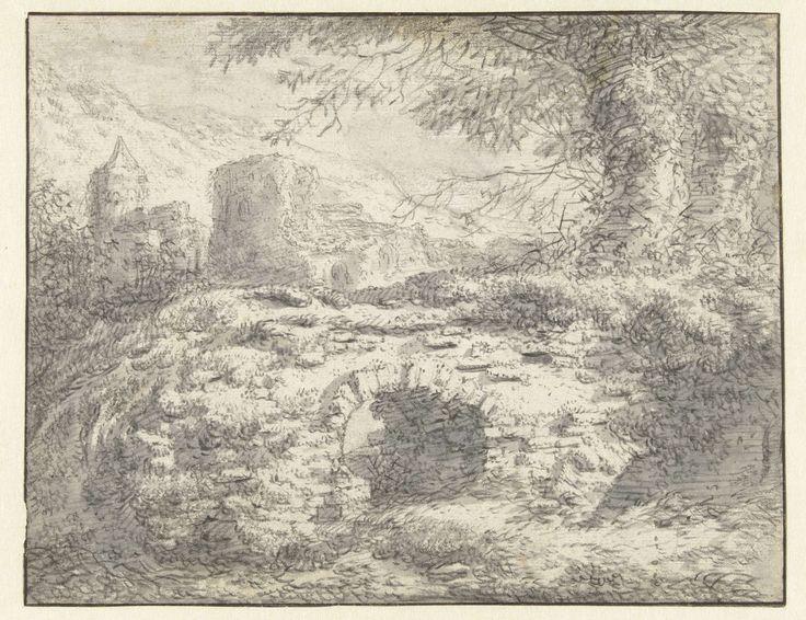 anoniem | Landschap met een stenen brug, possibly Casper Casteleyn, 1610 - 1670 |