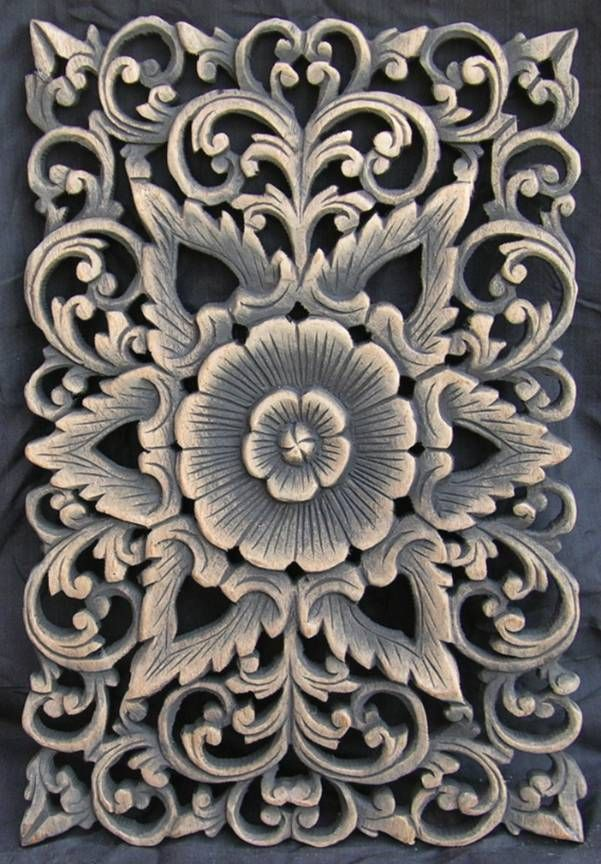 carved teak wall panel