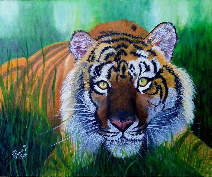 Elsa Rojas Tigre al acecho óleo sobre tela de 70 x 50 (pintura original, inspirada en fotografía) Muy bien, felicitaciones