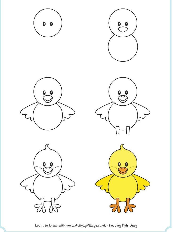 learn_to_draw_a_chick; verschillnzien