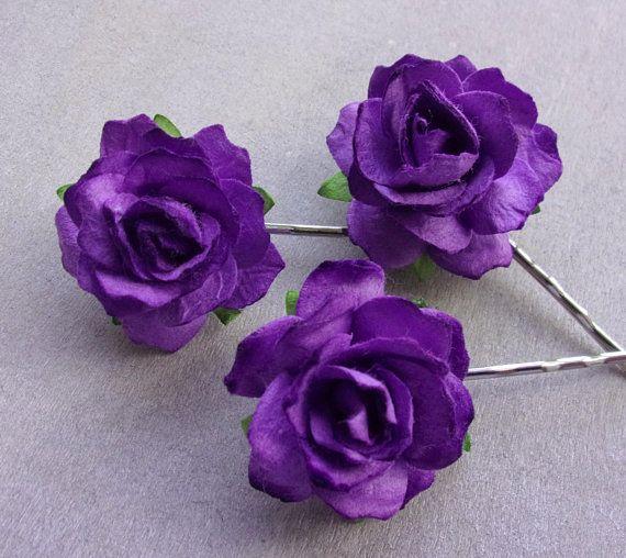Purple Bobby Pins Hair Pins Grips Clips Slides Vintage Accessories Flower Girls