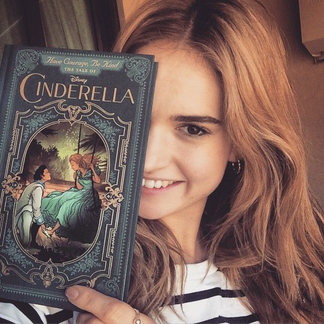 Awww Lily James with her Cinderella book ♡
