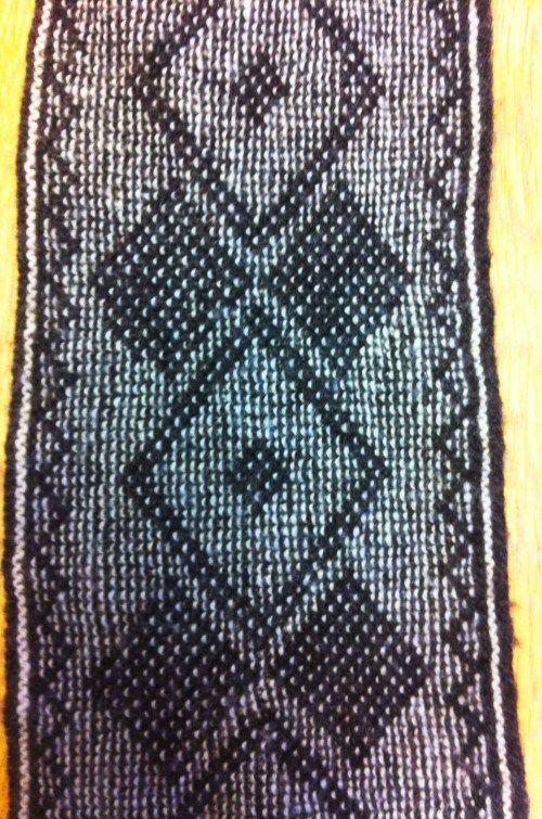 Mynd af trefli prjónuðum með vefprjóni (dobbeltvef)  dubbelstickning,scarf
