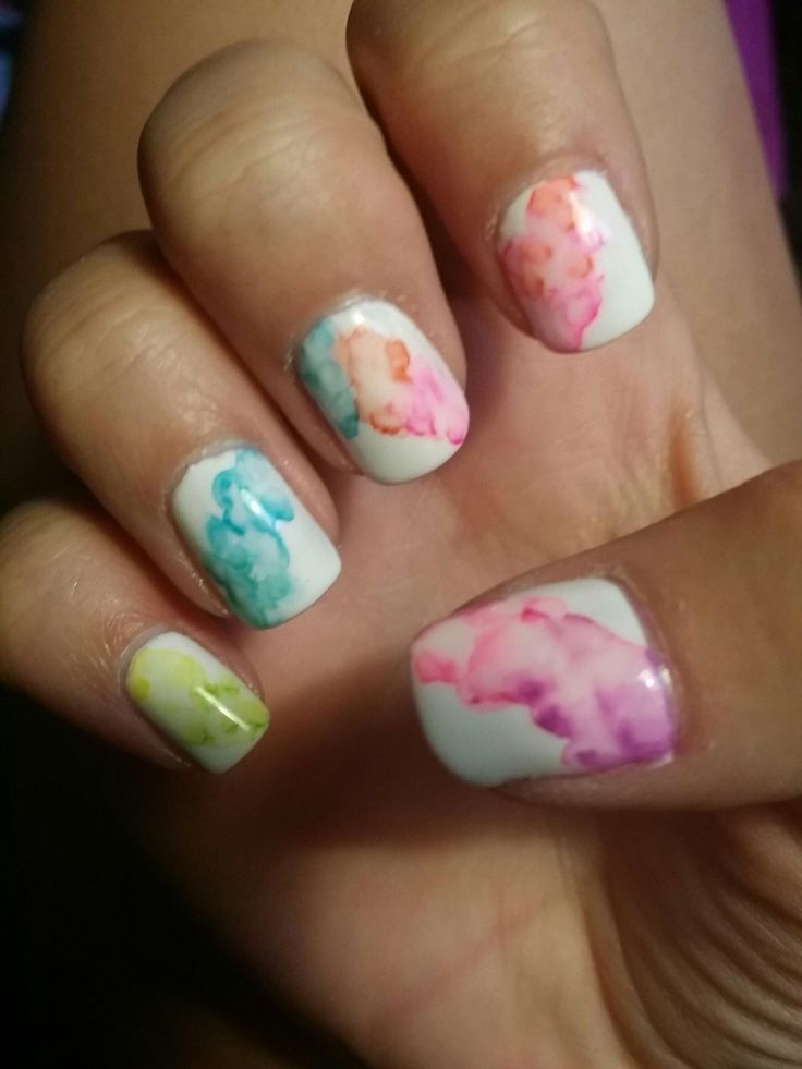 Water color nail art with sharpie and shellac! https://www.facebook.com/shorthaircutstyles/posts/1760991454191294