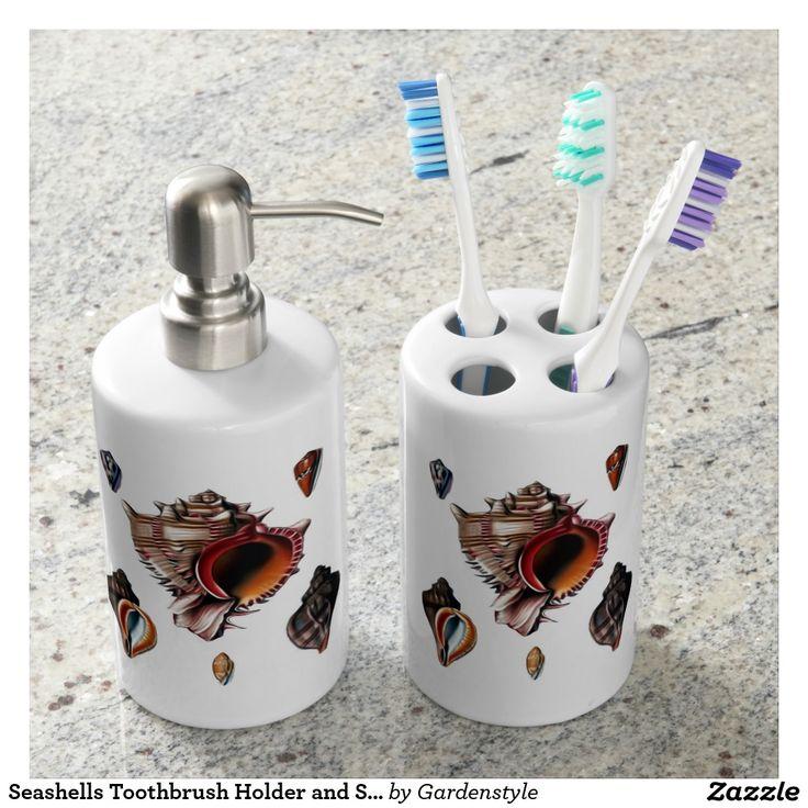 Seashells Toothbrush Holder and Soap Dispenser Set