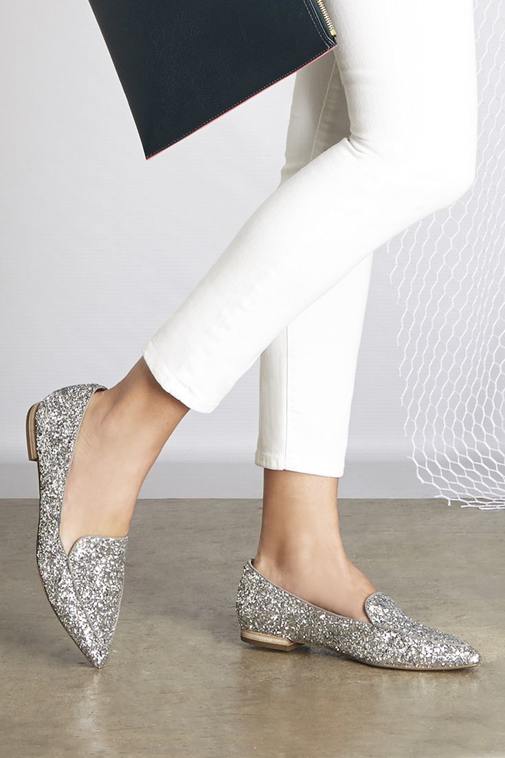 Silver Glitter Smoking Slippers | Sole Society Cammila