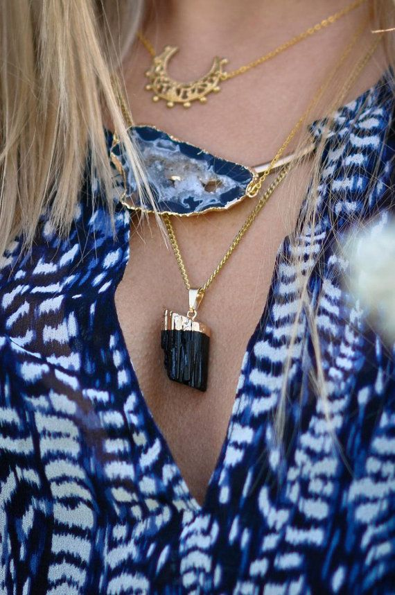 Simona Mar 3 Layers Necklace - Crescent Moon Filigree -  Geode Druzy - Tourmaline Pendant ~ gold plated ~ Brass