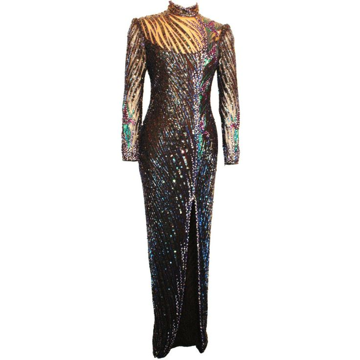 Vintage Bob Mackie Fully Beaded long Sleeve Gown 1980s Rare Unmistakable | From a collection of rare vintage evening dresses at http://www.1stdibs.com/fashion/clothing/evening-dresses/