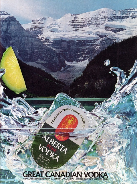 Alberta Pure Vodka is a vodka manufactured in the province of Alberta, Canada by Carrington Distillers and Alberta Distillers Limited. It has an alcohol of 40% and it is triple distilled for the purity, smoothness and clarity. Maclean's Magazine, February 1988.