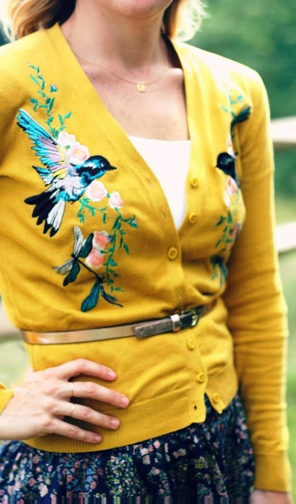 Mustard comfy cardigan with bird design (can I get this in another autumn color? Mustard isn't my cup of tea.)