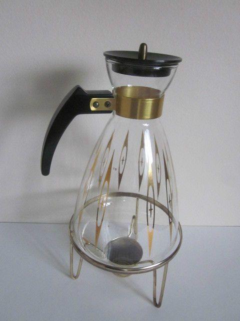 Vintage Pyrex Corning Glass Atomic Starburst Coffee Carafe w/Warmer Base | eBay