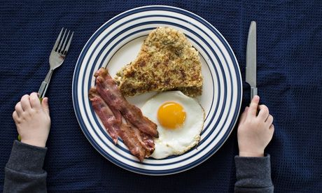 Blue cheese and onion tattie scones with bacon and egg. Photograph: David Levene for the Guardian