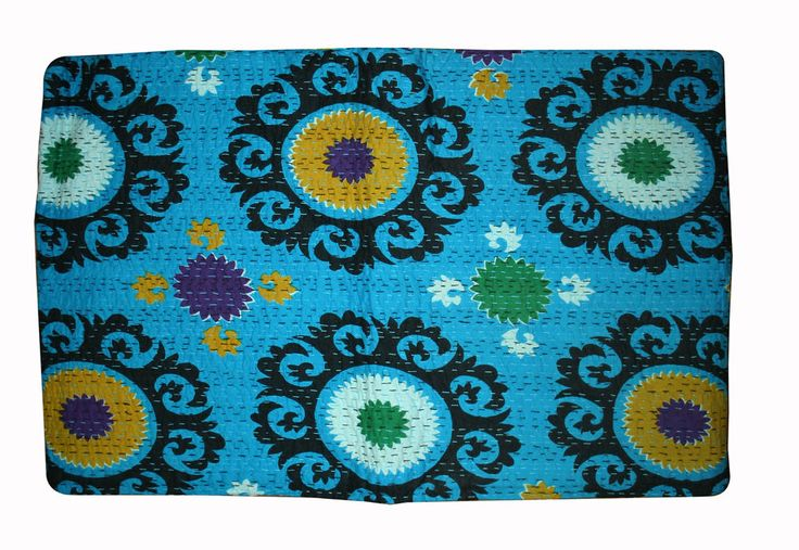 Suzani Kantha Suzani Print Quilt, bedspread, Bed Cover, bed sheet, KING SIZE Bed