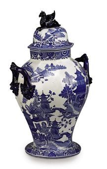 A SPODE STONE CHINA OCTAGONAL BLUE AND WHITE VASE AND COVER CIRCA 1830, PRINTED MARKS  Price realised GBP 1,188